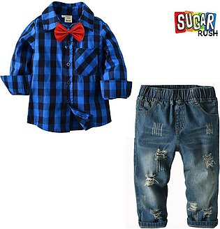 Blue SUGAR_RUSH Baby Boy and Boys Stylish Smart Casual Bow Tie Checked Shirt an…