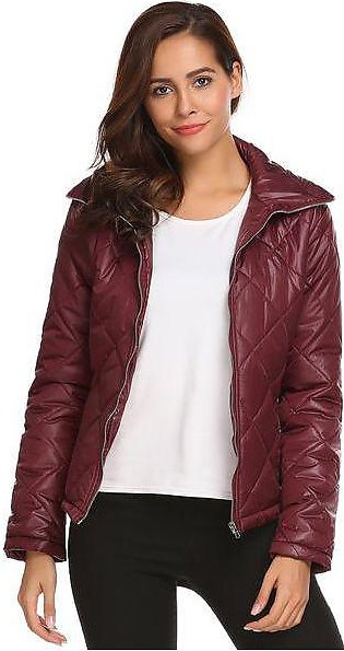 Wine Red Women Thickened Warm Winter Quilted Coat Jacket