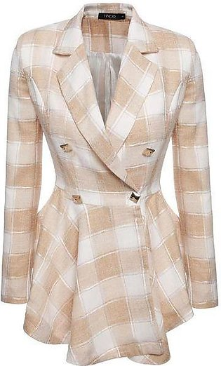 Brown Women Plaid Double-Breasted Flouncing Coat Casual Outerwear