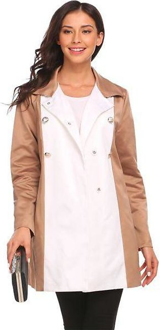 Khaki Women Turn Down Collar Double-breasted Patchwork Casual Trench Coat w/ Be…