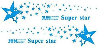 Blue Car Stars Pattern Decal Waterproof Car Body Protection Decoration Stickers