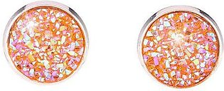 Rose Gold Women Fashion Simple Round Alloy Artificial Opal Stud Earrings