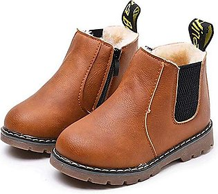 Brown Boys Fashion Casual Non-slip Thicken Martin Boots Waterproof Toddler Shoes