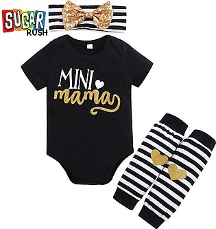 Black  SUGAR RUSH Infant Girls Printed Rompers with Socks with Headband