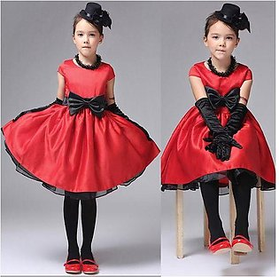 Red Baby Girl Kids Dresses Princess Clothing With Bow Elegant Children Party Fo…