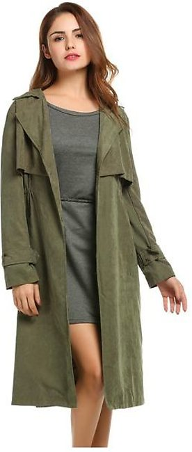 Women Lapel Single-breasted Casual Lightweight Cape Long Trench Duster Coat