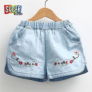 Blue SUGAR_RUSH Cool Baby Girl and Girls Embroidery Short And Toddle Short Jeans