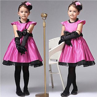 Rose Red Baby Girl Kids Dresses Princess Clothing With Bow Elegant Children Par…