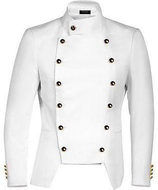 White Men Fashion Casual Stand Neck Double-breasted Slim Fit Blazer Jacket