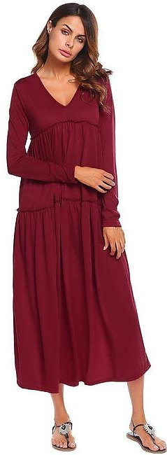 Wine Red Leisure and loose fitting dresses