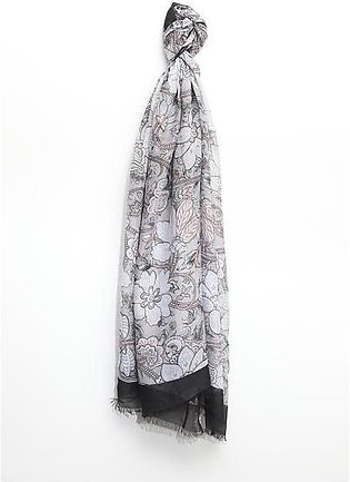 Woven Scarf with Abstract Pattern