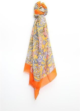 Printed Silk Scarf with Solid Border