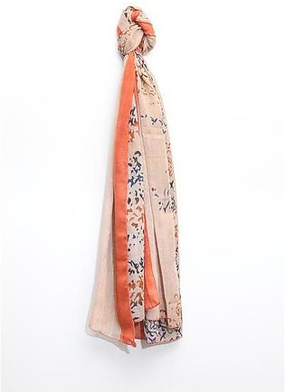 Silk Printed Scarf with Border