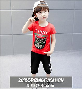 6 months-5 years baby boy summer fantastic cat printed RED shirt with imported …