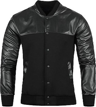 Men Fashion PU Leather Stitching Jacket Casual Long Sleeve Baseball Coat Outwear