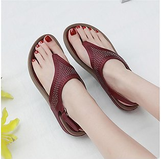 Bohemian Crystal Slope-heeled Sandals Comfortable Beach Shoes Women Sandals