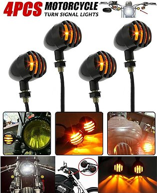 Pack of 4 - Pair of Black Aluminum Shell Grill Metal Motorcycle Indicator Turn …