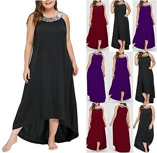 Plus Size Women Sleeveless Beads Collar Solid Party Dress Casual Loose Dress