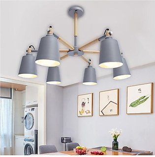 【Flash Deal】Modern Iron + Wood 6 Heads Ceiling Light Chandelier Lampshade Hangi…