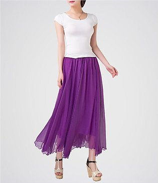 STYLE UP Purple Chiffon ankle length Long Maxi Skirt With White Sleeveless T-...