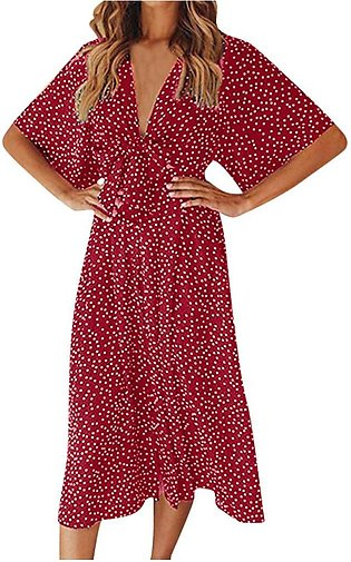 Summer Polka Dot Women Dress Vintage Boho Short Sleeve Midi Women Dress Beach...