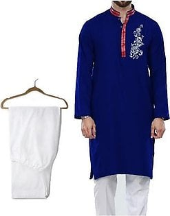 Wash and Wear Chest Flower Printed Navy Blue Kurta with White Cotton Pajama for Men - Design 8