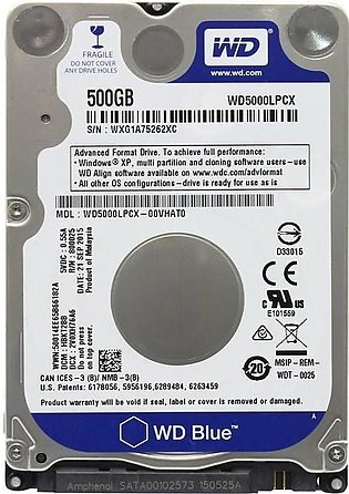 WD Blue 500GB Mobile 7.00mm Laptop Hard Disk Drive - 5400 RPM SATA 6 Gb/s Cache…