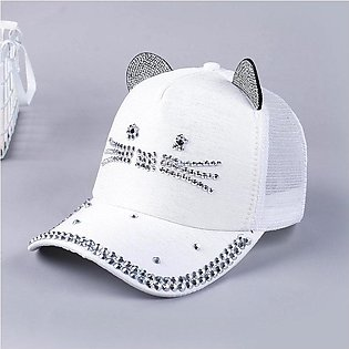Hats For Women Ladies hat Korean Fashion Spring And Summer Lady Cat Diamond Bas…