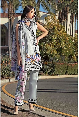 GA - GA - Gul Ahmed-Summer Collection 2019  Grey Lawn-3 PC Unstitched-CL-471 ...