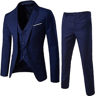 3-Piece Suit Men's Suit Slim r Business Wedding Party Jacket Vest & Pants