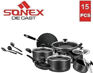 SONEX Elegant Gift Pack Cookware Set - 15 Pieces - Non Stick Coating - Black