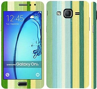 Samsung Galaxy On5 2015 Green Stripped Wooden Texture Mobile Skin