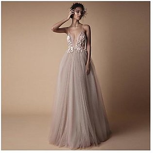 M Elegant Halter Sling Wedding Dress Bride Banquet Bridesmaid