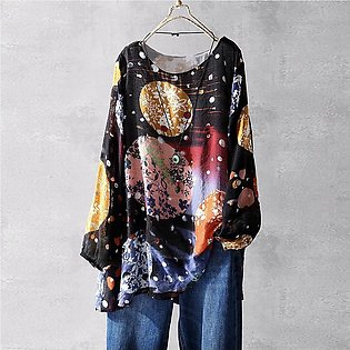 Plus Size Women O-neck Printing Long Sleeves Vintage T-Shirts Tops Blouses