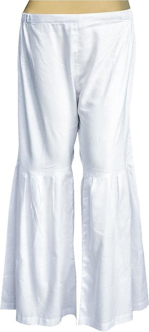 Dhanak Boutique Gharara Style Trousers for Women in Soft Cotton - Off White