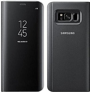 Clear View Standing Cover For Samsung Galaxy S8 Plus  - Black