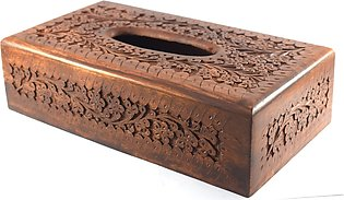 Tissue Box Carving - 6 x 11 Inches - Wood - Sheesham - Brown, Full size, Heavy …
