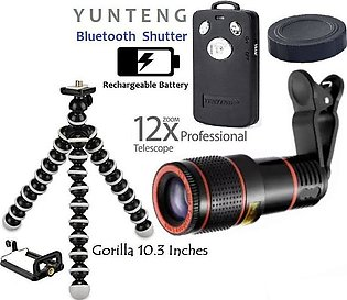 12x Lens Blur Like DSLR & Zooming Lens With Large Gorilla Tripod Mobile holde...