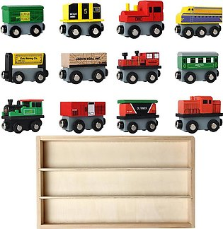 12 PCS Wooden Train Set Train Toys Magnetic Set Toy for Kids Toddler Boys Gir...