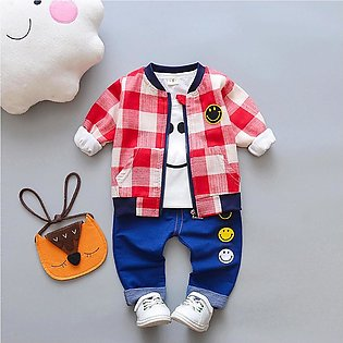 Kid Cartoon Plaid Coat Jacket +T-shirt Top+Jeans Pants Outfits