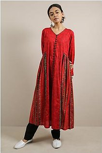 Generation-Pre Fall Collection Bead Work Dress Cotton Contemporary-B29274T-Maroon