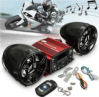 12V Sound System SD USB MP3 Motorcycle Audio Remote Control Stereo 2 Speakers !