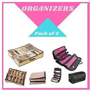 Pack of 2 – Roll N Go Cosmetic Bag & Shoes Organizer