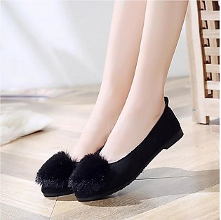 Women's Ladies Fashion Girls Solid Flock Simple Single Shallow Casual Shoes