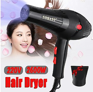 Professional Sokany Hair Dryer. Black Colour Hair Dryer 2600W