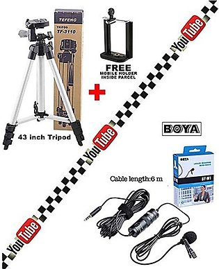 pack of 3 - Youtuber Combo 43 inch Tripod with Original Boya M1 Mic - for Cam...