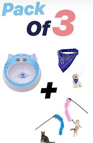 Pack of 3 - Cat Toy + Cat Bowl + Cat scarf Collar - Bundle Offer