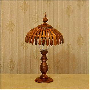 Table Lamp - Wooden - 14 Inches - Brown