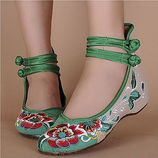 Womens Bridal Casual Ballet Sandals Embroidered Flower Flat Shoes Mary Jane P...