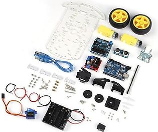 DIY Car Chassis Kit + Ultrasonic Module + Learning Kit For Arduino UNO R3